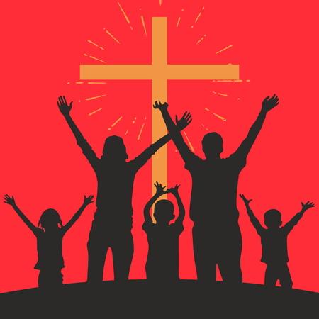 iglesia: Familia con las manos levantadas y una cruz