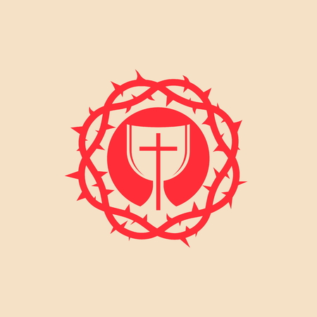 crown of thorns: Communion, crown of thorns, cross, red, icon