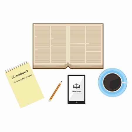 bible study: Open Bible, Bible, pages,  , table, Bible app, pencil, coffee, mug, notepad, Bible study