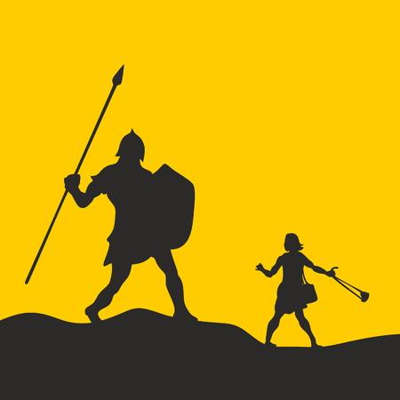 David and Goliath. Silhouette, hand drawn