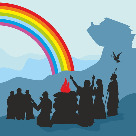 gospel: Noah and the ark, worship God. Silhouette, hand drawn Illustration
