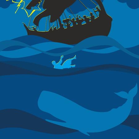 ヨナとクジラ。シルエット、手描き