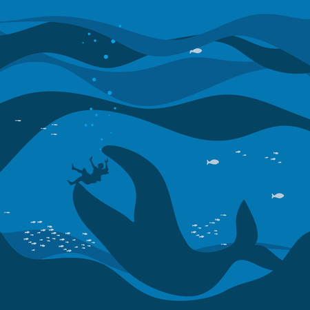 Jonah and the whale. Silhouette, hand drawn 일러스트