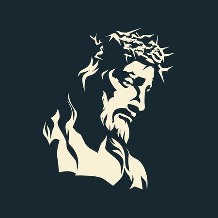 jesus en la cruz: Jes�s. Corona de espinas. Dibujado a mano.
