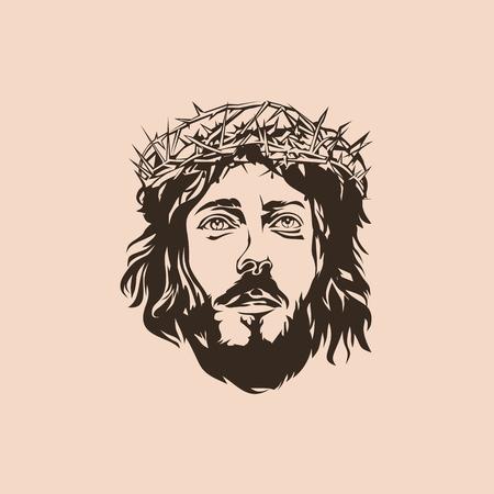 jesus on cross: Jesús. Corona de espinas. Dibujado a mano.
