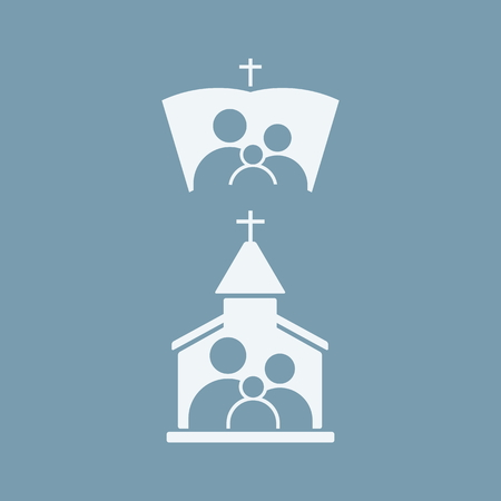 church group: Church members, group of people Illustration