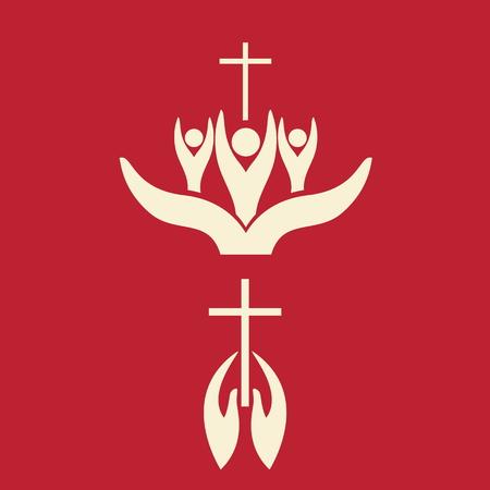 cruz religiosa: Manos y cruz, biblia, pertenencia, miembros de la iglesia, la comunión, los feligreses, icono, cruz, las manos, el culto Vectores