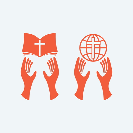 biblia: Manos que sostienen la biblia, el mundo de la mano, el cristianismo, adoración, biblia, globo, mundo, misiones Vectores