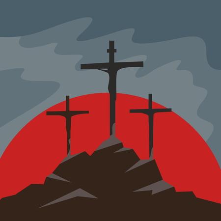 큰 시련. 갈보리에서 세 개 십자가. 일러스트