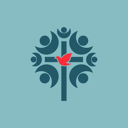 coro: Becas, iglesia, membresía, cruz, paloma, comunidad de la iglesia, la comunidad, el coro