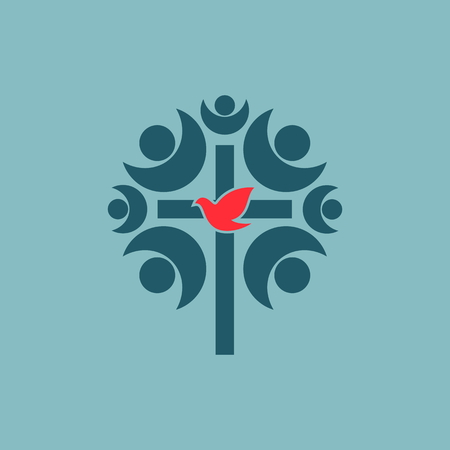 community: Fellowship, church, membership, cross, dove, church community, community, choir Illustration