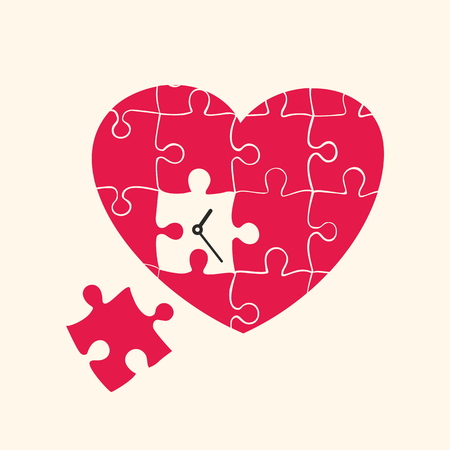 psalm: Heart and clock. Puzzle.