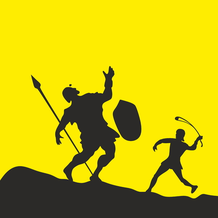 David en Goliath. Silhouet, hand getekende Stock Illustratie