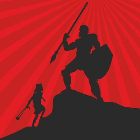 David and Goliath. Silhouette, hand drawn Фото со стока - 46944520