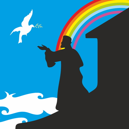 noahs: Noahs Ark and rainbow. Silhouette, hand drawn Illustration
