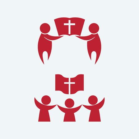 coro: Inicio iglesia, grupo fo personas, coro Vectores