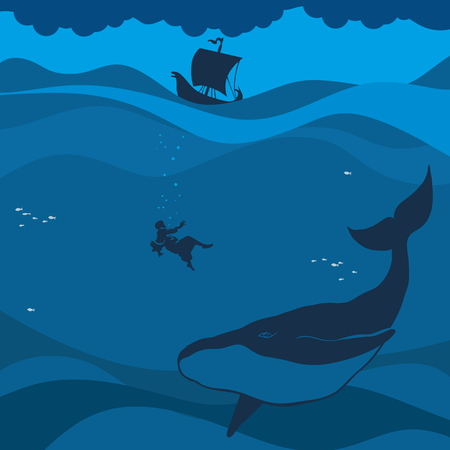 psalm: Jonah and the whale. Silhouette, hand drawn Illustration