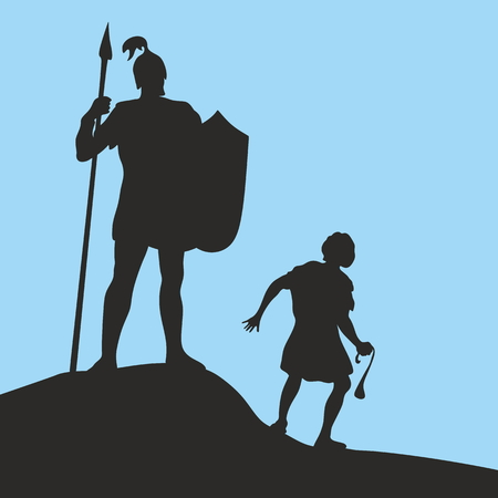David and Goliath. Silhouette, hand drawn Stock Vector - 46944521