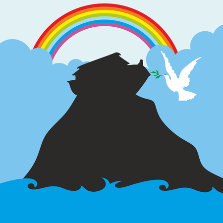 Noahs Ark And Rainbow Silhouette Hand Drawn Illustration