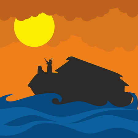 Noah and the ark. Silhouette, hand drawn Illustration