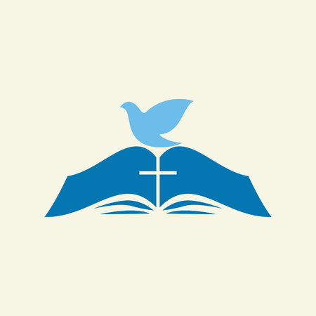 crucifixion: Dove on the pages of a Bible Illustration