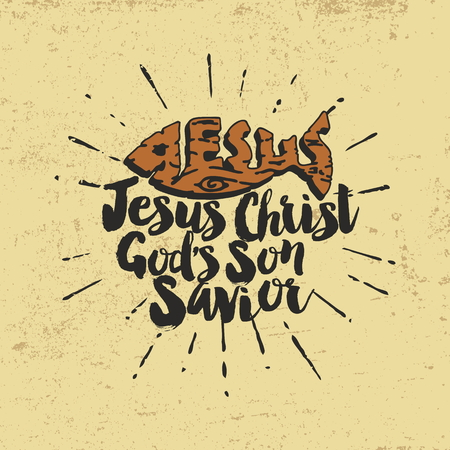 psalm: Jesus Christ Gods son savior. Lettering Illustration