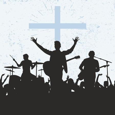 psalm: Silhouettes of musicians, worship