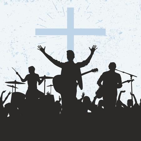religion catolica: Siluetas de los músicos, el culto