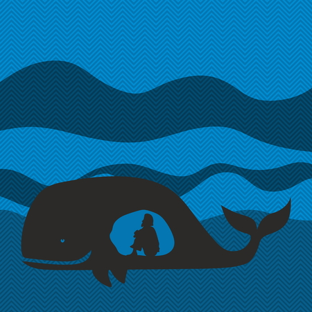 Jonah in the whale. Silhouette, hand drawn Illustration