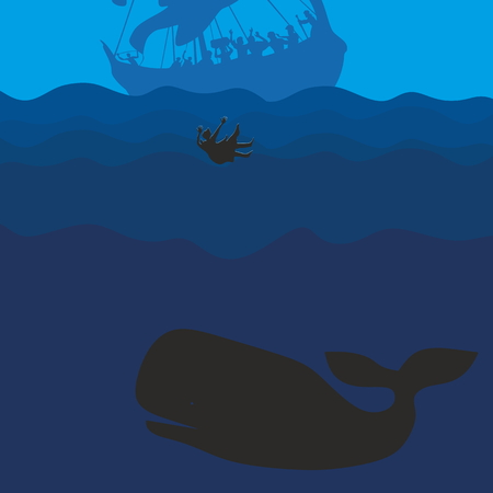 scripture: Jonah and the whale. Silhouette, hand drawn Illustration