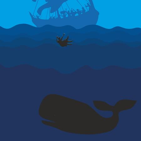 Jonah and the whale. Silhouette, hand drawn Ilustração