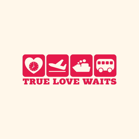 with true love: True love waits. Icons.