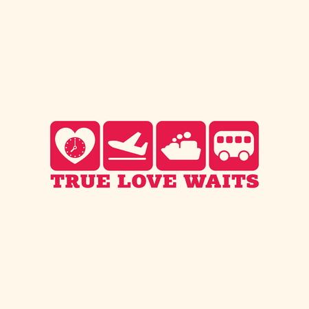 true love: True love waits. Icons.