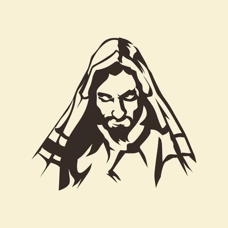 jezus: Twarz Jezusa. Ręcznie rysowane.