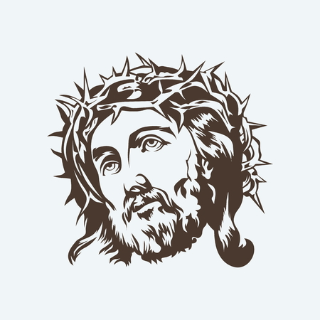 jesus: Jesus. Crown of thorns. Hand drawn.