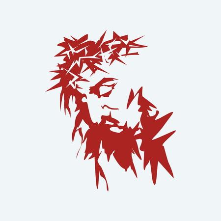 cruz de jesus: Jes�s. Corona de espinas. Dibujado a mano.