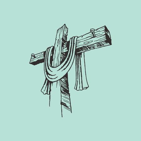 cruz religiosa: Mano cruz y sudario dibujado Vectores