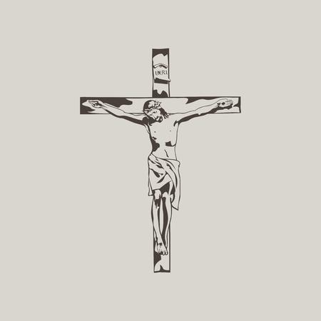 Jesus on the cross. Hand drawn. Vettoriali