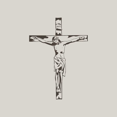 Jesus on the cross. Hand drawn. Vectores