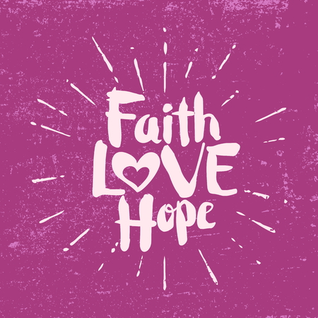 믿음 희망 사랑. 문자 쓰기.