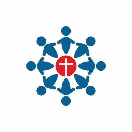 交わり、クロス手グループ礼拝、アイコン、グループの祈り、祈りのサークルを開催、会員の教会 写真素材 - 47426149