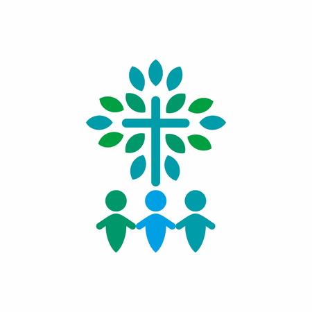 religion catolica: Adoración Group, tomados de la mano, cruz, el crecimiento espiritual, icono