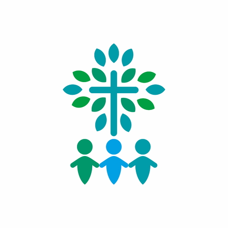 worship hands: Group worship, holding hands, cross, spiritual growth, icon Illustration