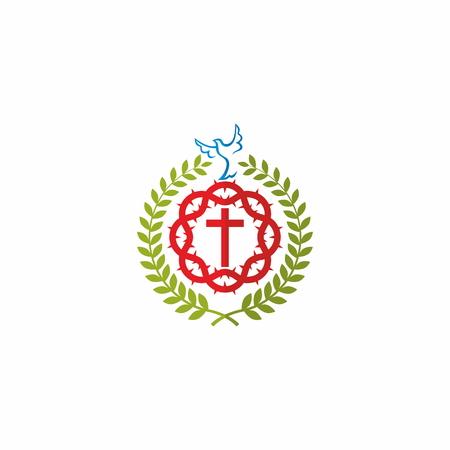 cristianismo: Ramas, paloma, corona de espinas, cruz, insignia, símbolo, cristianismo