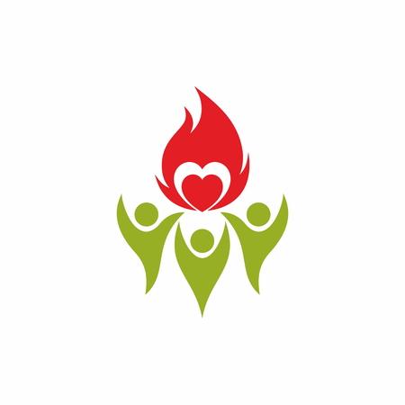 fellowship: Flame, fellowship, people, silhouettes, symbol