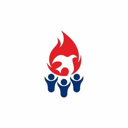 Flame, fellowship, people, silhouettes, symbol