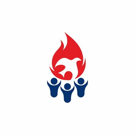 espiritu santo: Llama, el compañerismo, la gente, siluetas, símbolo