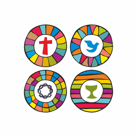 spirituality: Cross, dove, chalice, crown of thorns, Christian, icons, rainbow, stained glass window, colorful, badge Illustration