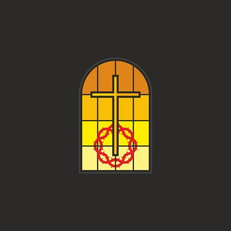 church window: Stained glass window, cross, crown of thorns, icon, church window