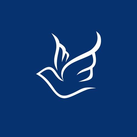 cristianismo: Dibujo lineal de la paloma Vectores